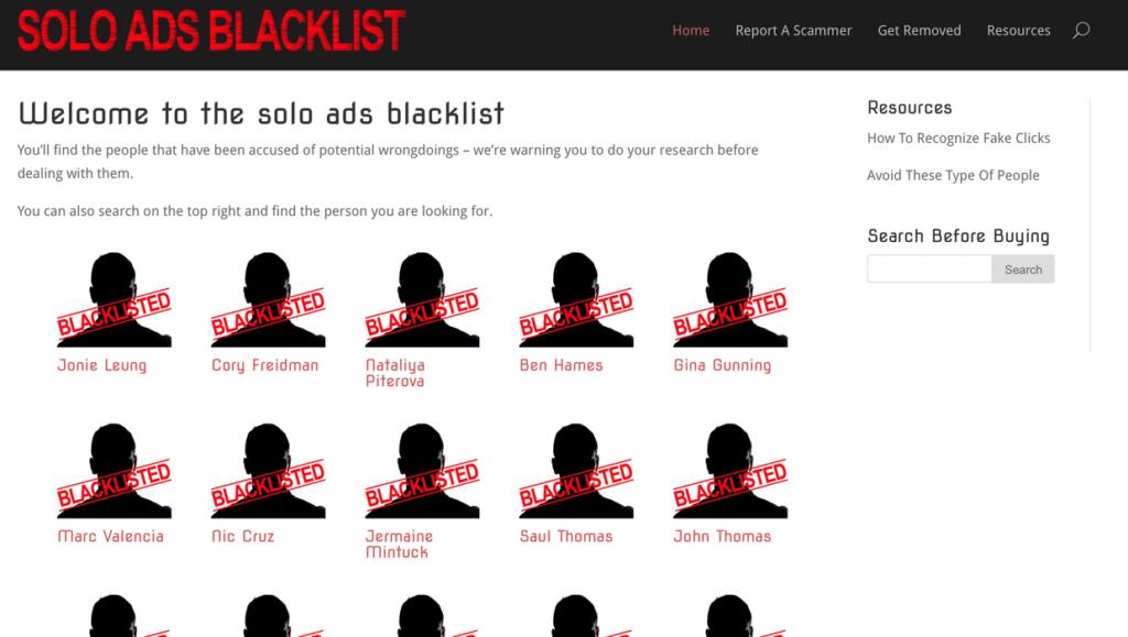Solo Ads Blacklist